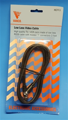 "Low Loss Video Cable - With Molded ""F"" Connectors - 3 Feet"