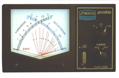 Jetstream JTWXVU - 125 - 525 Mhz LARGE Cross Needle SWR / Power Meter