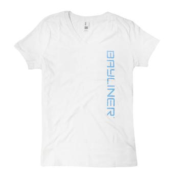 Ladies Vertical V-Neck Tee - White