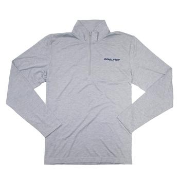 1/4 Zip Triblend Pullover - Light Grey