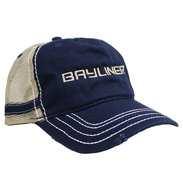 Mesh Back Stripe Cap - Navy / Khaki