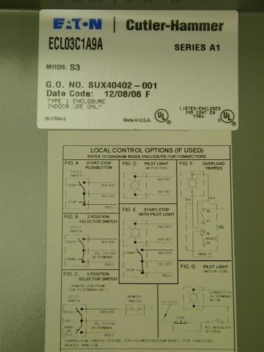 ECL03C1A9A Cutler Hammer CUTLER HAMMER 9 POLE CN35DN2 30AMP 120V AC COIL  NEMA 1 ENCLOSURE LIGHTING CONTACTORPioneer Breaker & Control Supply