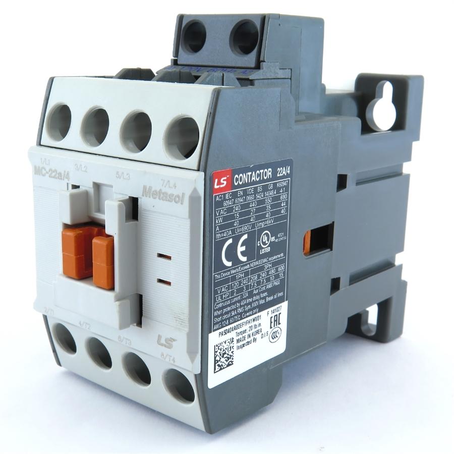 MC-22a/4 AC MetaSol Magnetic Contactors MC Type Type (4 Pole)