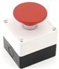 PB-22MU-MOM-E1R 22MM MOMENTARY MUSHROOM PUSH BUTTON RED WITH PLASTIC ENCLOSURE 1NO  1NC AUXILIARY CONTACTS