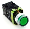 PBC-P22XTMO2-FIG-24V DIRECT REPLACEMENT FITS TELEMECANIQUE XB2BW33B1C 22MM GREEN FLUSH PUSH BUTTON  MOMENTARY METAL ILLUMINATED  INCLUDED 1NO/1NC CONTACT BLOCKS 24V AC/DC CONTROLS.