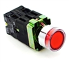 PBC-P22XTMO2-FIR-120V DIRECT REPLACEMENT FITS TELEMECANIQUE XB2BW3465 22MM RED FLUSH PUSH BUTTON  MOMENTARY METAL ILLUMINATED INCLUDED 1NO/1NC ZB2BE101,ZB2BE102 CONTACT BLOCKS AND 1 Z-BV6 CONTACT BLOCK