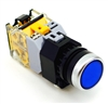 YC-P22PMA-IFBU-1 YuCo 22MM YuCo FLUSH PUSH BUTTON BLUE MAINTAINED ILLUMINATED 24V AC/DC 1NO/1NC CONTACT BLOCK