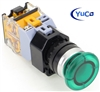 YC-P22PMMA-MIG-3 YuCo 22MM PUSH BUTTON GREEN MAINTAINED ILLUMINATED 220V AC/DC 35MM MUSHROOM  1NO/1NC CONTACT BLOCK.