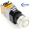 YC-P22PMMA-MIW-6 YuCo 22MM CLEAR PUSH BUTTON MAINTAINED ILLUMINATED 12V AC/DC 35MM MUSHROOM M. INCLUDED 1NO/1NC CONTACT BLOCK