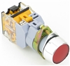 YC-P22XPMA-IFR-6 YuCo 22MM FLUSH PUSH BUTTON RED METAL MAINTAINED ILLUMINATED 12V AC/DC INCLUDED 1NO/NC CONTACT BLOCK