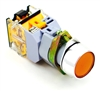 YC-P22XPMA-IFY-2 YuCo 22MM FLUSH PUSH BUTTON YELLOW METAL MAINTAINED ILLUMINATED 120V AC/DC 1NO/NC CONTACT BLOCK