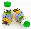 YC-P22XPMA-IG-3 YuCo 22MM EXTENDED PUSH BUTTON GREEN METAL MAINTAINED ILLUMINATED 220 AC/DC, 1NO/1NC CONTACT BLOCK