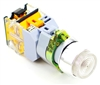 YC-P22XPMA-IW-6 YuCo 22MM WHITE EXTENDED PUSH BUTTON. METAL MAINTAINED ILLUMINATED 12V AC/DC 1NO/NC CONTACT BLOCK
