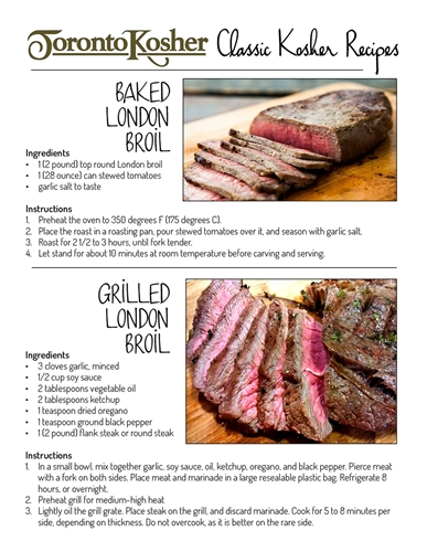 Toronto Kosher Fabulous London Broil Recipes!