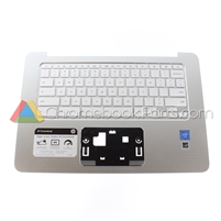 HP 14 AK-Series Chromebook Palmrest Assembly w/ Keyboard Only, Silver - 830878-001