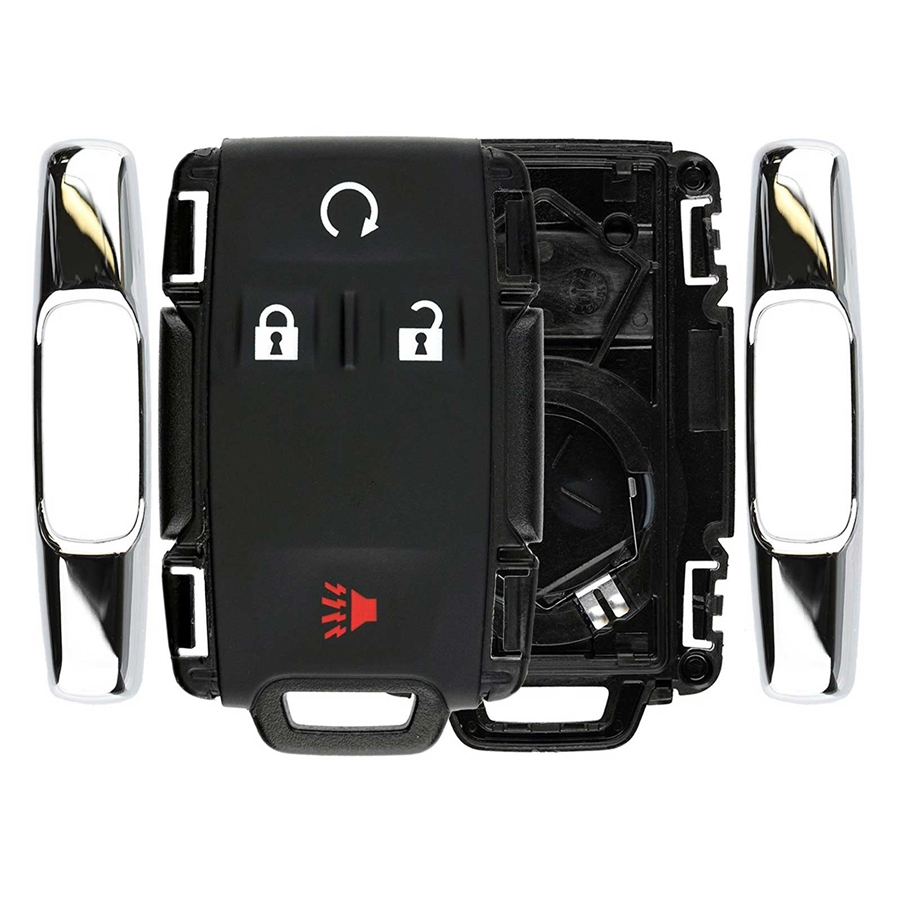 Chrome Key Fob Keyless Entry Remote Shell Case /& Pad fits Chevy Silverado Colorado M3N-32337100 GMC Sierra Canyon 2014 2015 2016 2017