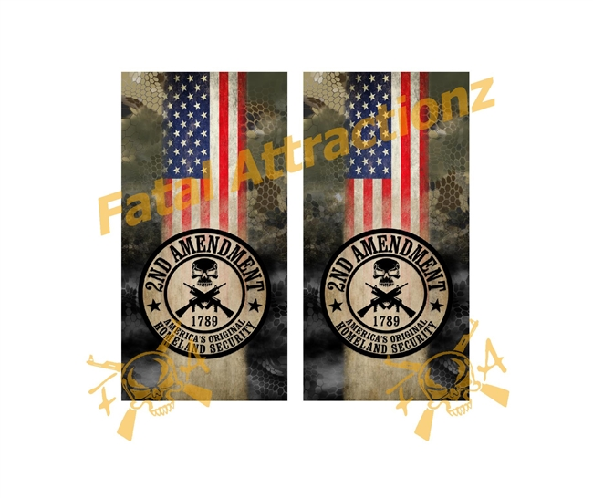 2nd Ammendment Homeland Security Camo Cornhole Cover Wrap Vinyl Decal Sticker