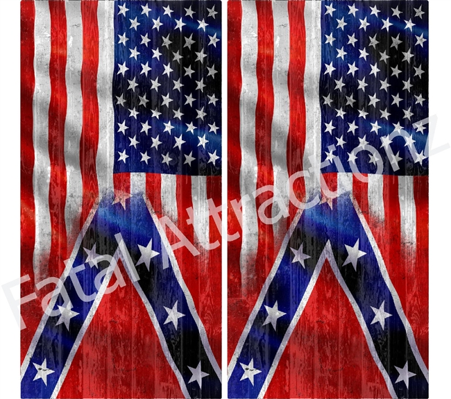 American Confederate Flag Boards Cornhole Cover Wrap