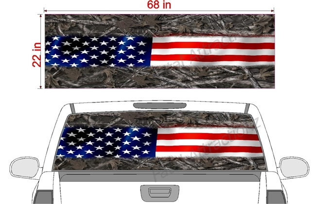 "American Flag Camo Stripe See Thru Window Wrap 22""x68"""