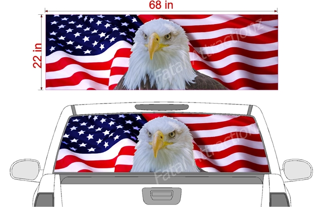 "American Flag Eagle See Thru Window Wrap 22""x68"""