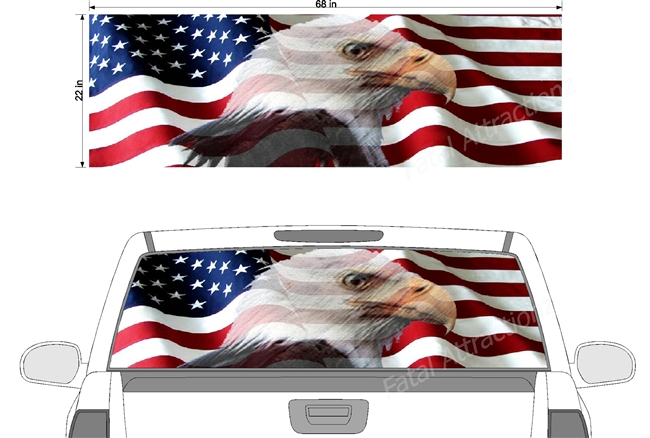 "American Flag Faded Eagle See Thru Window Wrap 22""x68"""