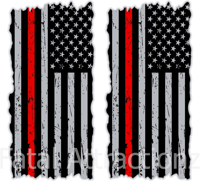 American Flag Red Line Cornhole Cover