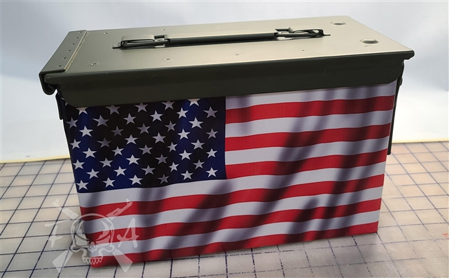 American Flag Wavy Ammo Can Wrap pair