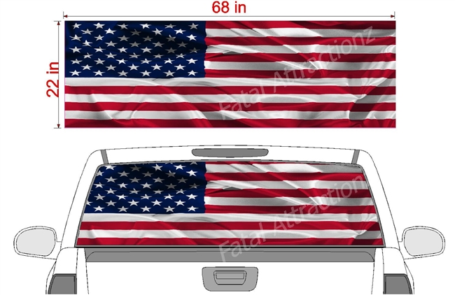 "American Flag Wavy See Thru Window Wrap 22""x68"""