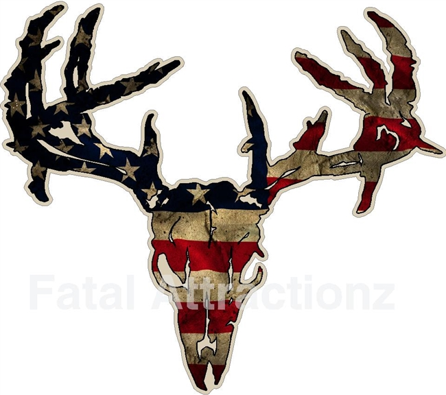 Distressed American Flag Zombie Deer Skull