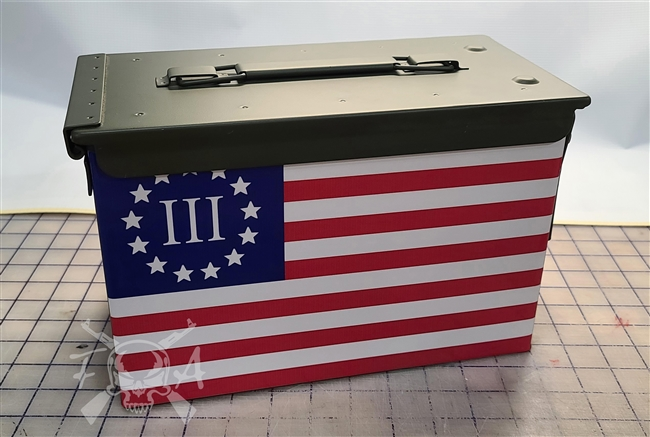 Betsy Ross III% 13 star Flag Ammo Can Wrap pair
