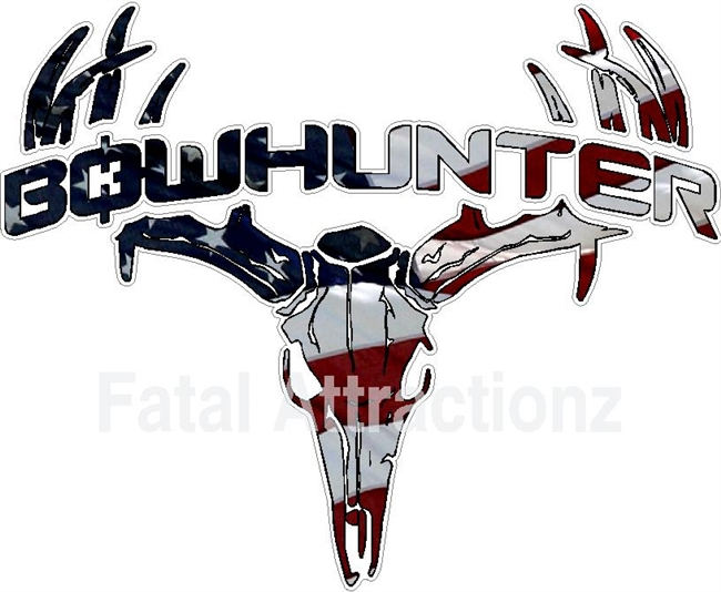 American Flag Bowhunter Deer Skull S4