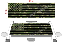 "Camo American Flag See Thru Window Wrap 22""x68"""