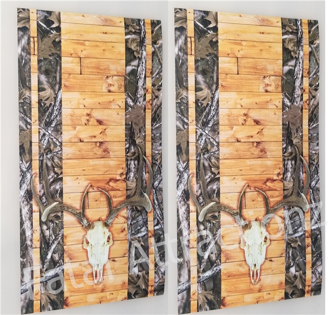 Camo Wood Boards Deer Skull Cornhole Cover Wrap