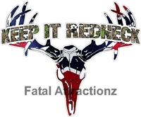 Camo Keep it Redneck Rebel Flag Deer Skull S4