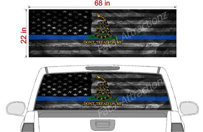 "Distressed American Gadsden Flag Blue Line See Thru Window Wrap 22""x68"""