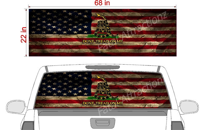 "Distressed American Gadsden Flag See Thru Window Wrap 22""x68"""