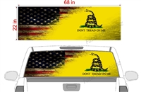 "Distressed American Gadsden Flag V2 See Thru Window Wrap 22""x68"""