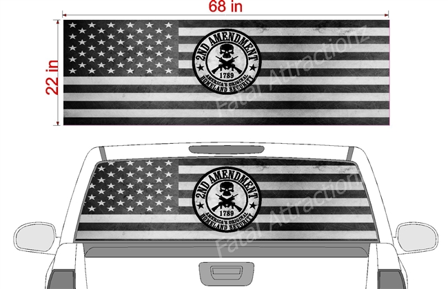 "Distressed American Homeland Security Flag See Thru Window Wrap 22""x68"""
