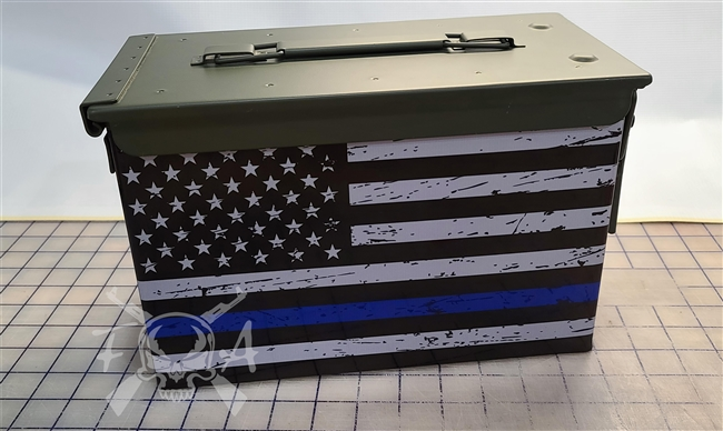 Distressed Blue Line American Flag Ammo Can Box Wrap pair