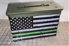 Distressed Green Line American Flag Ammo Can Box Wrap pair