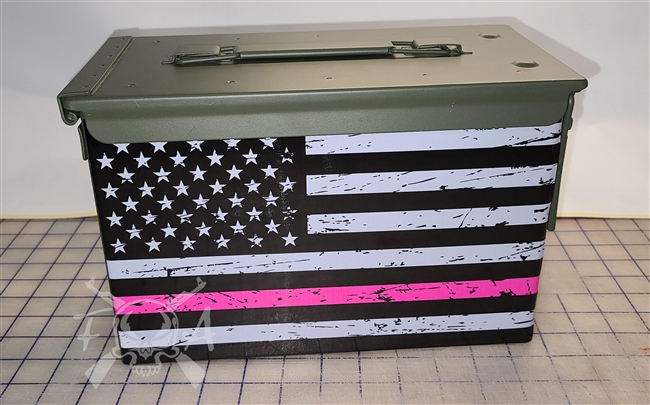 Distressed Hot Pink American Flag Ammo Can Box Wrap pair