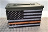 Distressed Orange American Flag Ammo Can Box Wrap pair