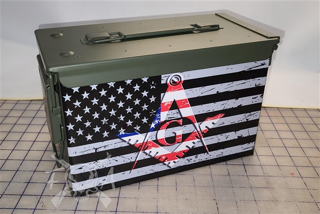 Distressed American Masonic Flag Ammo Can Box Wrap Set