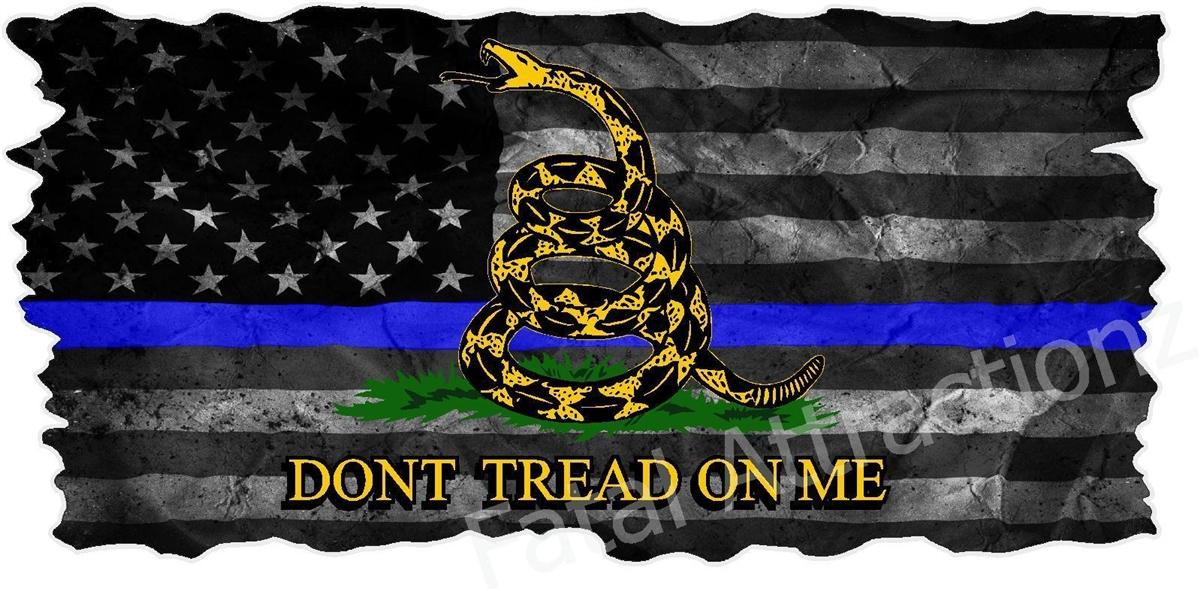 distressed american blue line gadsden flag
