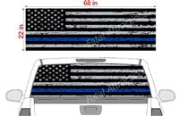 "Distressed American Flag Blue Line See Thru Window Wrap 22""x68"""