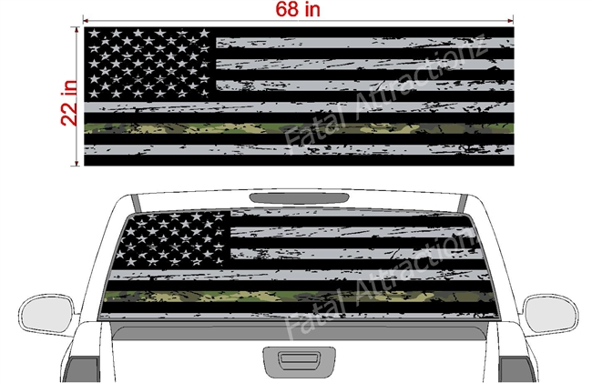 "Distressed American Flag Camo Line See Thru Window Wrap 22""x68"""
