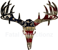 Distressed American Flag Deer Skull S4
