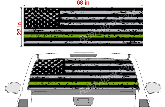 "Distressed American Flag Green Line See Thru Window Wrap 22""x68"""