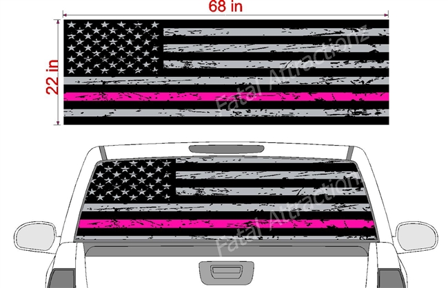 "Distressed American Flag Hot Pink Line See Thru Window Wrap 22""x68"""