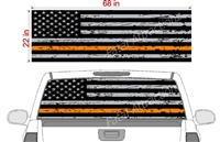 "Distressed American Flag Orange Line See Thru Window Wrap 22""x68"""